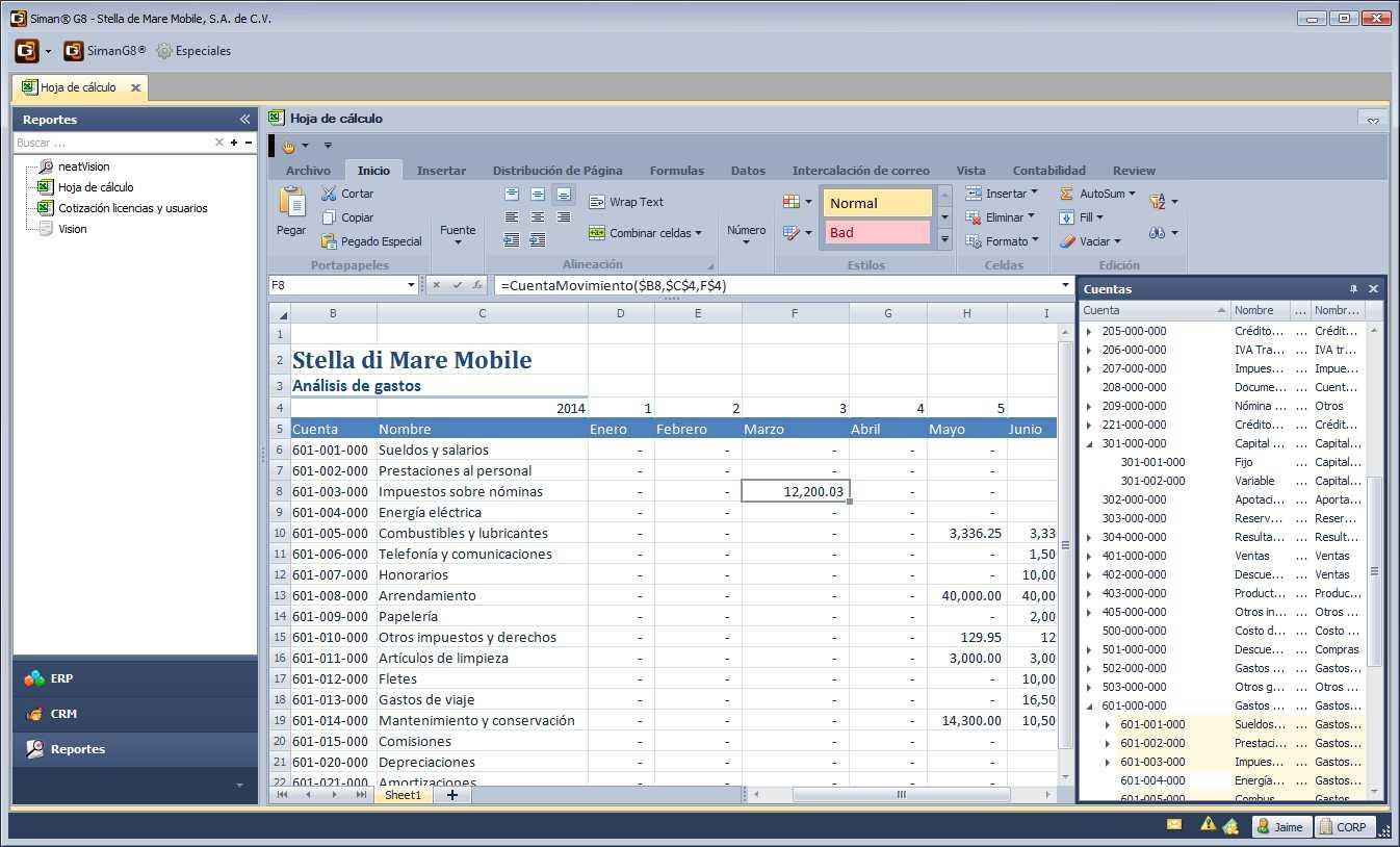Hoja de cálculo contable - Manual